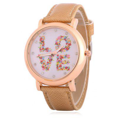 Buy KHAKI Fuax Leather Rhinestone Floral Love Watch for $8.66 in GearBest store