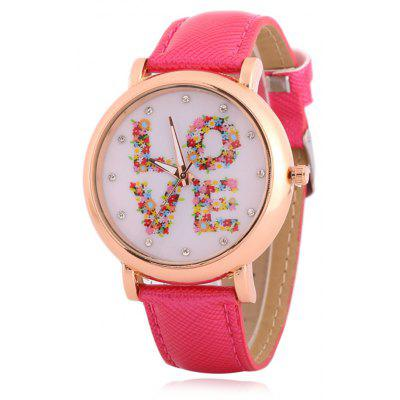 Buy TUTTI FRUTTI Fuax Leather Rhinestone Floral Love Watch for $8.66 in GearBest store