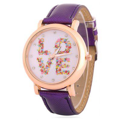 Buy PURPLE Fuax Leather Rhinestone Floral Love Watch for $8.66 in GearBest store