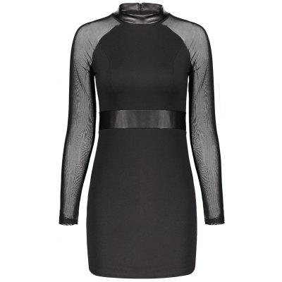 Buy BLACK XL Mock Neck Long Sleeve Mini Bodycon Dress for $22.21 in GearBest store