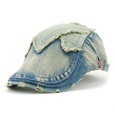Trendy Rag and Broken Hole Embellished Do Old Denim Fabric Cabbie Hat