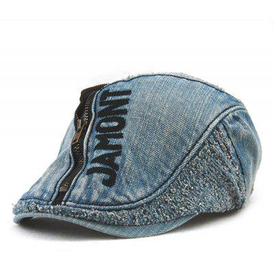 Forma letra e Zipper Embellished Do Velho Denim Cabbie Hat For Men