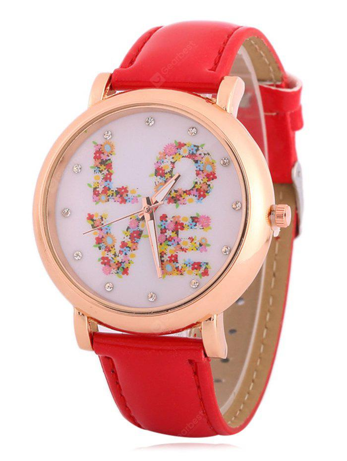 RED Fuax Leather Rhinestone Floral Love Watch