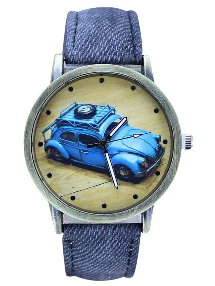 BLUE Faux Leather Car Pattern Analog Watch