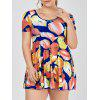 Plus Size Short Sleeve Skirted One Piece Swimsuit - YELLOW