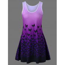 Butterfly Print Ombre Plus Size Trapeze Dress