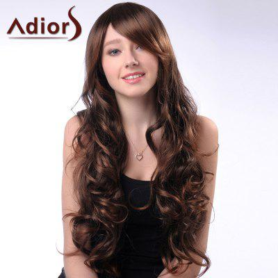 Buy BROWN Adiors Long Wavy Side Bang Synthetic Wig for $19.71 in GearBest store
