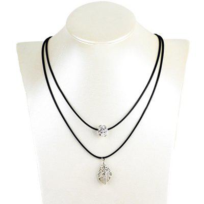 Hollow Out Leaf Ball Rhinestone Pendant Necklace