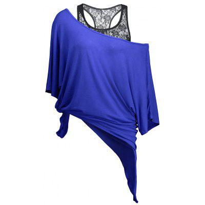 Buy BLUE L Handkerchief Batwing T-Shirt with Lace Tank Top for $19.77 in GearBest store