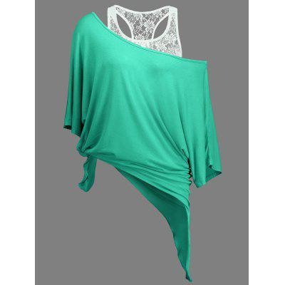 Buy LIGHT GREEN L Handkerchief Batwing T-Shirt with Lace Tank Top for $19.77 in GearBest store