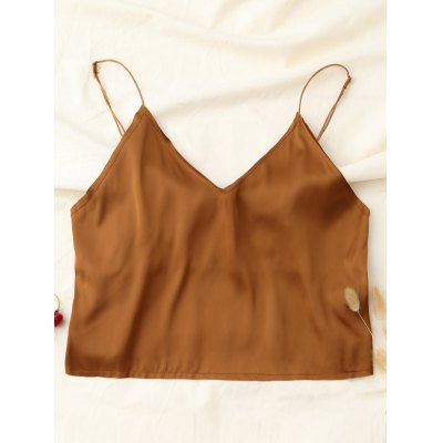 Buy KHAKI S Spaghetti Straps Cropped Tank Top for $15.36 in GearBest store