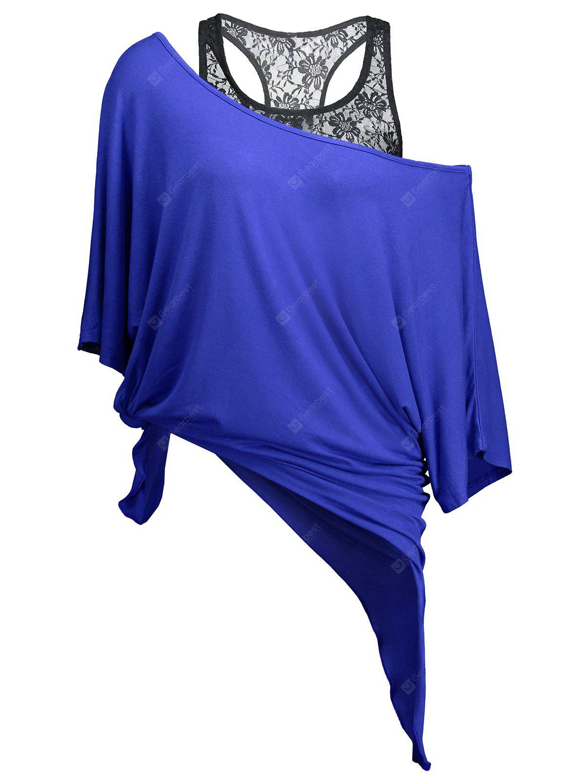 BLUE XL Handkerchief Batwing T-Shirt with Lace Tank Top