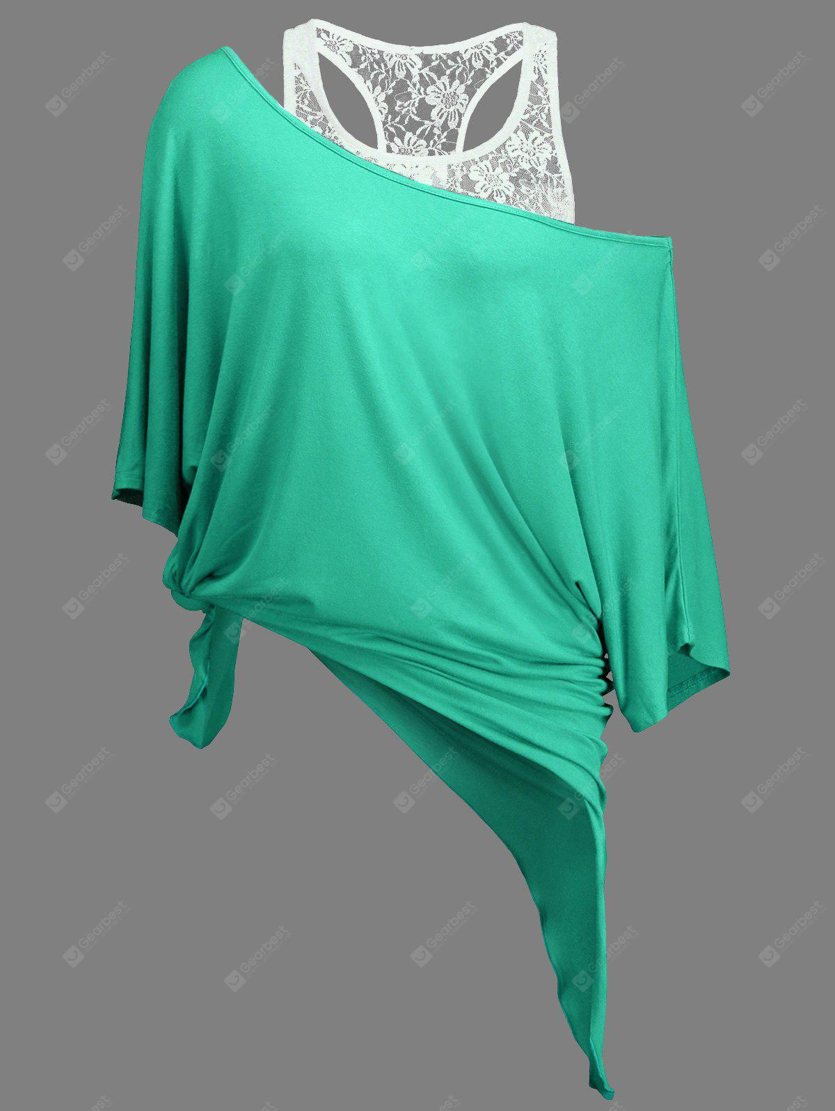 LIGHT GREEN M Handkerchief Batwing T-Shirt with Lace Tank Top