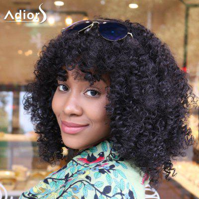 Buy BLACK Adiors Medium Afro Fluffy Curly Full Bangs Synthetic Wig for $24.71 in GearBest store