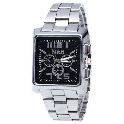 Buy BLACK Metallic Strap Square Analog Watch for $7.97 in GearBest store