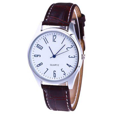 Buy WHITE Faux Leather Strap Analog Number Watch for $6.25 in GearBest store