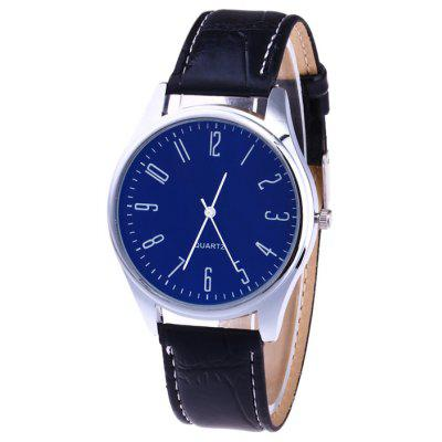 Buy BLUE Faux Leather Strap Analog Number Watch for $6.25 in GearBest store