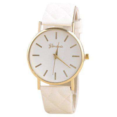 Buy WHITE Minimalist Faux Leather Analog Wrist Watch for $6.76 in GearBest store