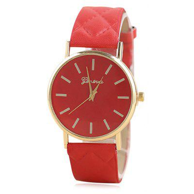 Buy RED Minimalist Faux Leather Analog Wrist Watch for $6.76 in GearBest store