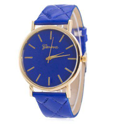Buy BLUE Minimalist Faux Leather Analog Wrist Watch for $6.76 in GearBest store