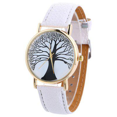 Buy WHITE Faux Leather Tree Of Life Analog Watch for $7.16 in GearBest store