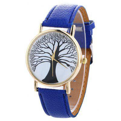 Buy BLUE Faux Leather Tree Of Life Analog Watch for $7.16 in GearBest store