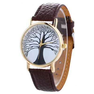 Buy BROWN Faux Leather Tree Of Life Analog Watch for $7.16 in GearBest store