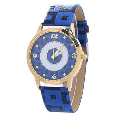 Buy BLUE Faux Leather Color Block Analog Watch for $6.76 in GearBest store