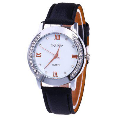 Buy BLACK Rhinestone Faux Leather Strap Analog Watch for $6.53 in GearBest store
