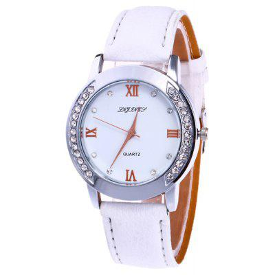 Buy WHITE Rhinestone Faux Leather Strap Analog Watch for $6.53 in GearBest store