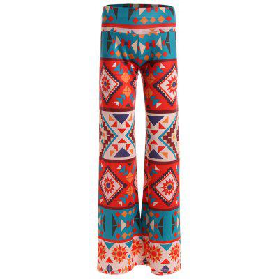 Buy COLORMIX XL Geometric Damask Print Wide Leg Palazzo Pants for $22.21 in GearBest store