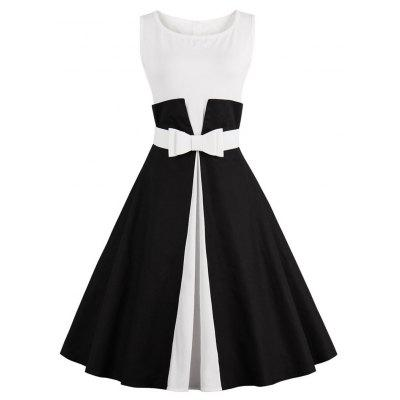 Color Block Cocktail Pin Up Dress button up v neck fit and flare dress
