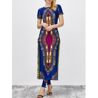 Buy CERULEAN L High Slit Africa Print Robe Dress with Pants for $26.84 in GearBest store