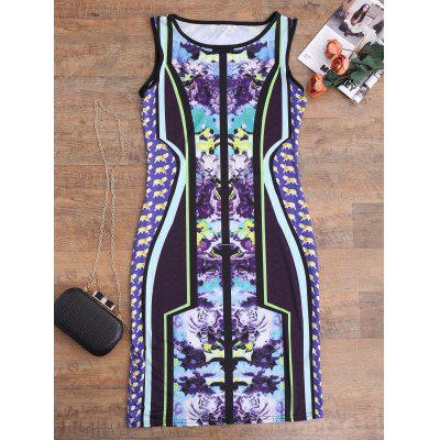 Buy FLORAL L Sleeveless Floral Mini Bodycon Dress for $17.08 in GearBest store