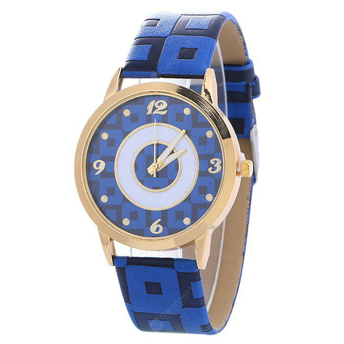 BLUE Faux Leather Color Block Analog Watch