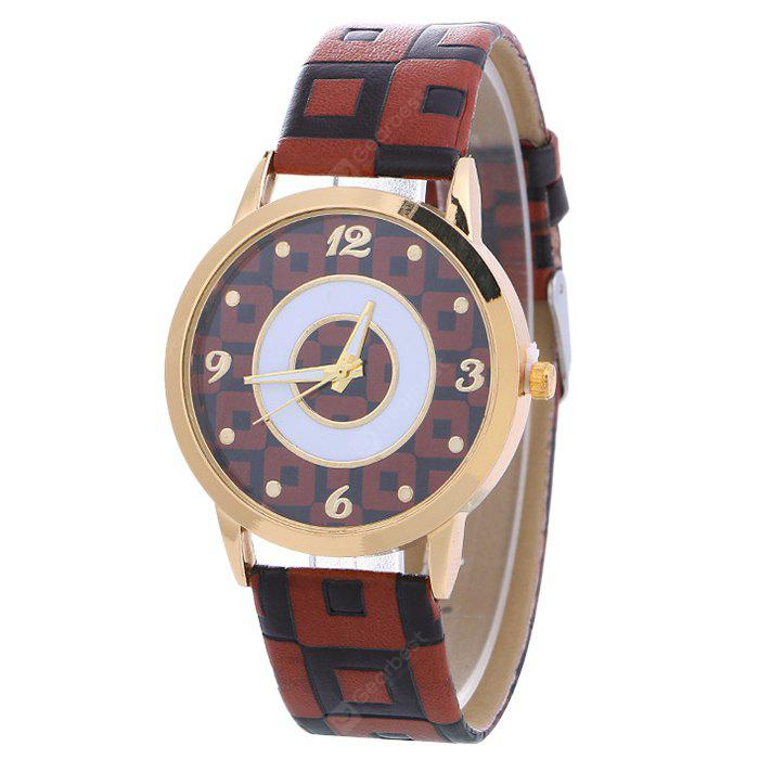 BROWN Faux Leather Color Block Analog Watch