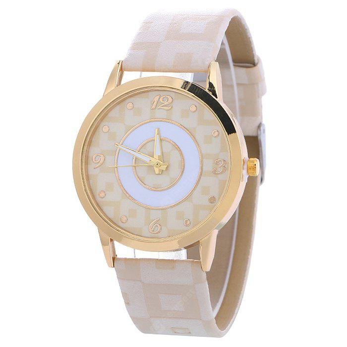 WHITE Faux Leather Color Block Analog Watch