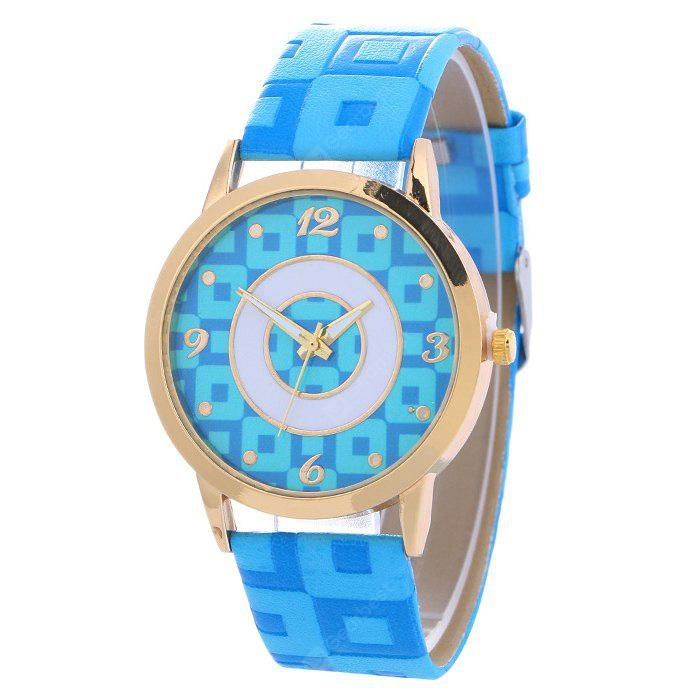 AZURE Faux Leather Color Block Analog Watch