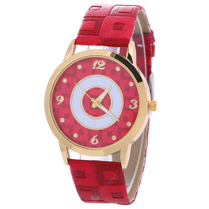 RED Faux Leather Color Block Analog Watch