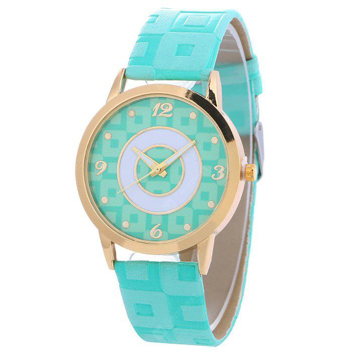 LAKE BLUE Faux Leather Color Block Analog Watch