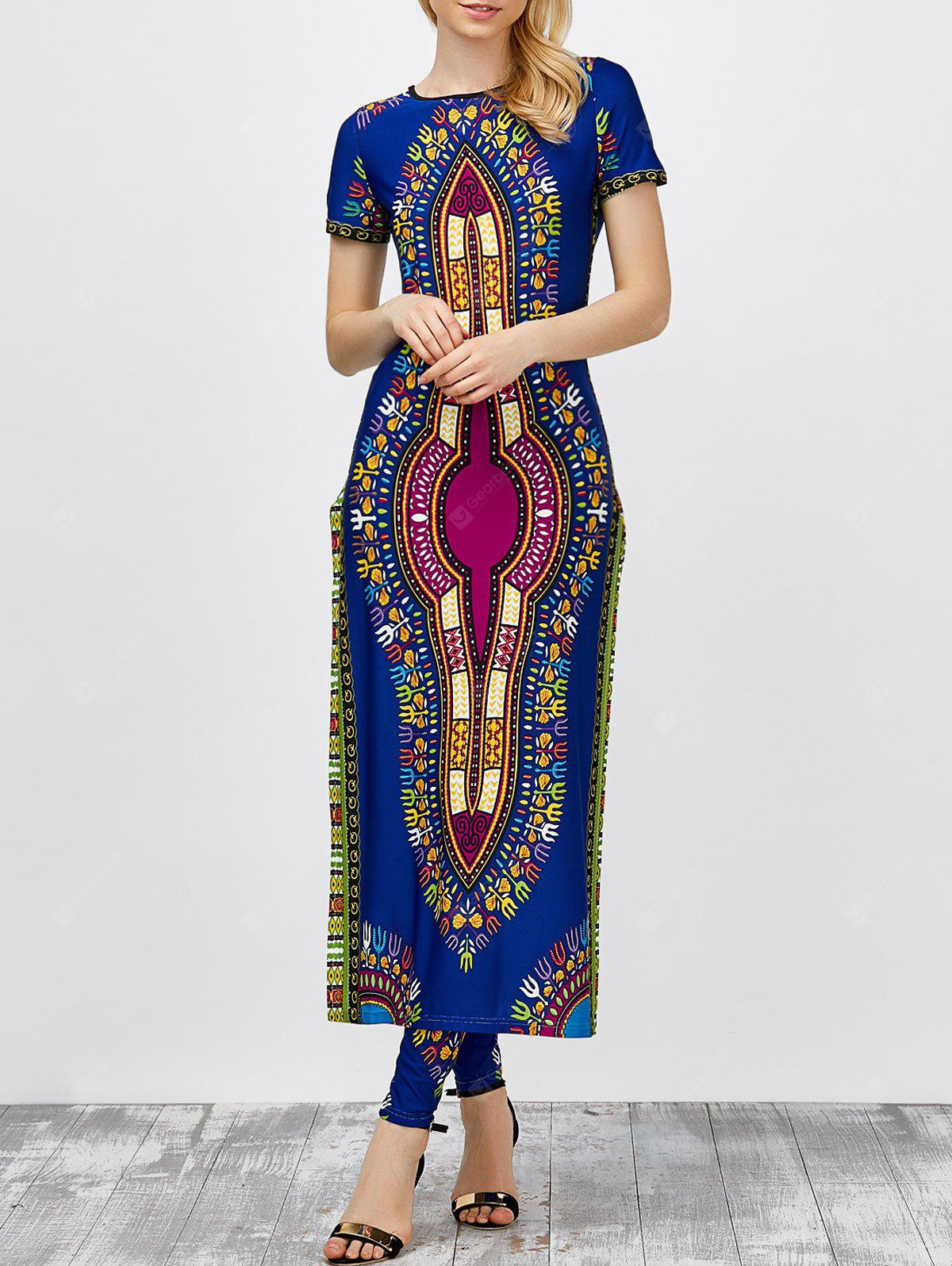CERULEAN M High Slit Africa Print Robe Dress with Pants