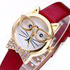 Rhinestone Cat With Glasses Analog Watch - WHITE