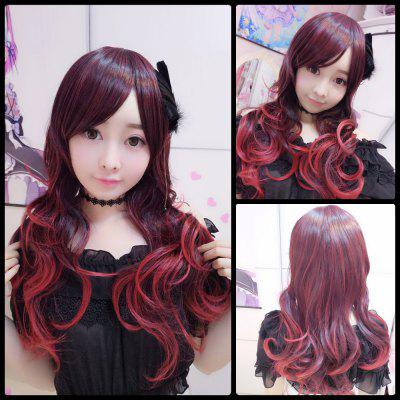 Harajuku Long Wavy Gradient Side Bang Cosplay Lolita Synthetic Wig