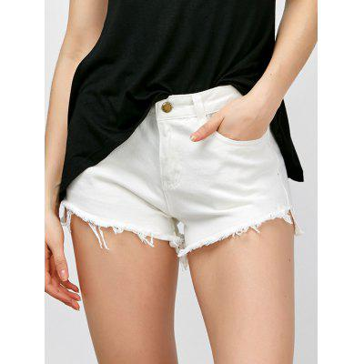 High Waisted Asymmetrical Fringed Shorts