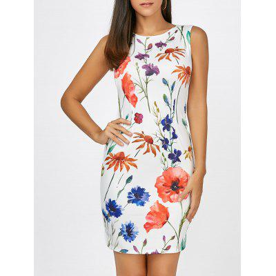 Buy WHITE M Floral Sleeveless Mini Bodycon Dress for $19.70 in GearBest store