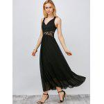 Lace Panel Chiffon Maxi Gown Evening Dress - BLACK