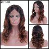 Siv Hair Long Wavy Middle Part Lace Front Human Hair Wig - GRADUAL BROWN