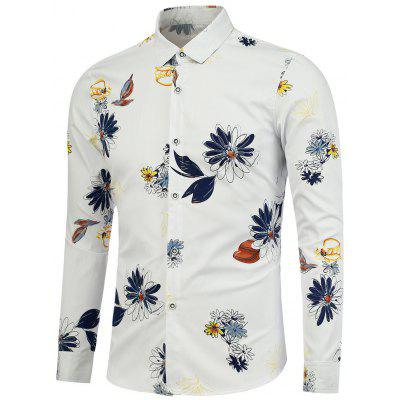 Turndown Collar Floral Printed Shirt