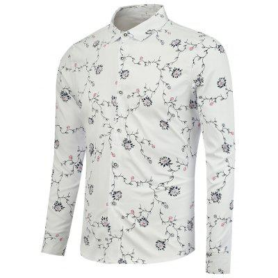Branch and Flowers Pattern Long Sleeve Shirt