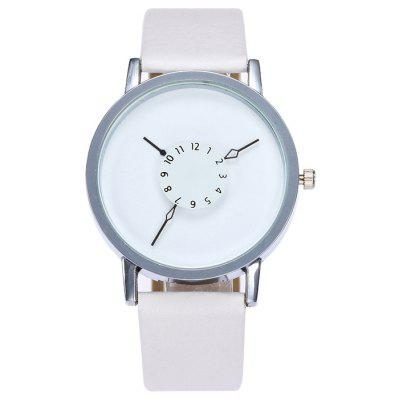 Buy WHITE Faux Leather Strap Number Analog Watch for $7.39 in GearBest store